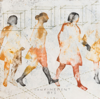 31 x 31 cm, technique mixte sur papier marouflé sur bois