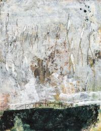 65 x 50 cm, papier marouflé sur toile, technique mixte. Migrants.
