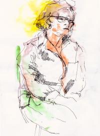 Croquis, encre, aquarelle - Nicole